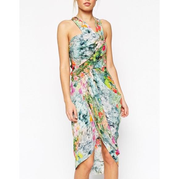 ASOS Petite Dresses & Skirts - ASOS Halter Drape Front Asymmetrical Dress